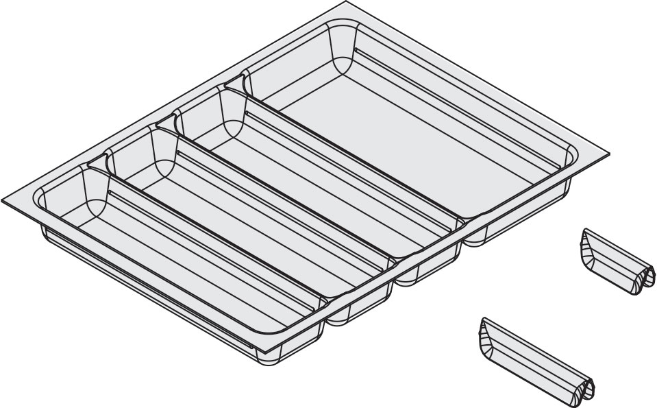 Tray with dividers